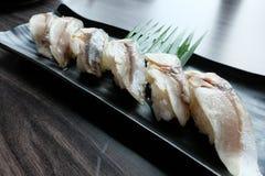 Shime saba寿司或烂醉如泥的saba鱼saba是一那个在鲭鱼的种类 免版税库存图片