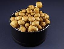 Shimeji mushroom. Raw brown shimeji mushroom in a metal bowl Stock Images