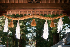 Shimenawa sacred rope at Entrance gate of Kawaguchi Asama shrine Stock Photography