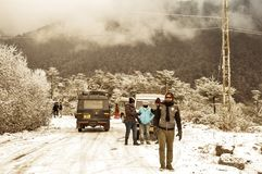Shimla, Himachal Pradesh, December 25, 2018: Incessant snowfall has prompted tourist to temporarily halt. Nearby places Summer stock photos