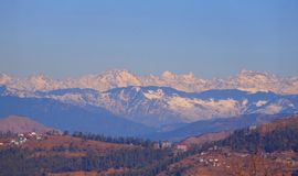 Shimla, India. Beautiful View of snowcapped mountains of Himalyan Range. Beauty of nature Royalty Free Stock Photo
