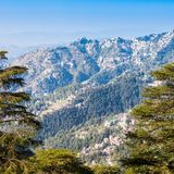 Shimla in India. Shimla aerial view, it is the capital city of the Indian state of Himachal Pradesh, located in northern India Royalty Free Stock Photo