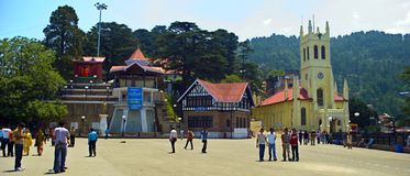Shimla Mall. The local people and tourists are roaming at the famous Tourist destination of yellow church at Shimla Mall, Himachal Pradesh, India Stock Image