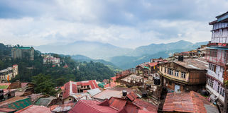 Shimla town in India. Himalayas town landscape with roofs Royalty Free Stock Photo