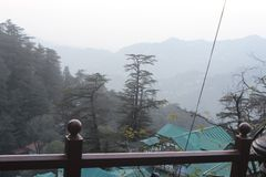 SHIMLA VIEW ON OCTOBER ITS THE TIME OF FIRST SNOW FALL royalty free stock images