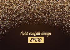 Golden shimmer confetti random falling. Shimmer celebration transparent background. Luxury shine vector party illustration. Birthday carnival glitter. Shiny Stock Images