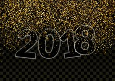 Shimmer Glitter Falling Revealing Happy New Year 2018 Number Stock Photo