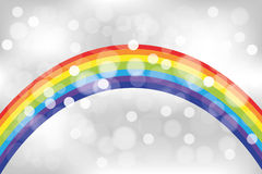 Shimmering abstract rainbow background. Rainbow with translucent bubbles on shimmering background Stock Photo