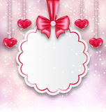 Shimmering background with celebration paper card and hanging he. Illustration shimmering background with celebration paper card and hanging hearts for Valentine Stock Photography
