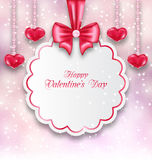 Shimmering Background with Celebration Paper Card. Illustration Shimmering Background with Celebration Paper Card and Hanging Hearts for Valentines Day - Vector Stock Photo