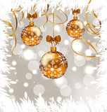 Shimmering background with Christmas balls Stock Photo
