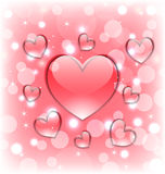 Shimmering background with glassy hearts for Valentine Day Stock Image