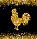 Shimmering Background with Rooster as Symbol Chinese New Year 2017 Stock Image