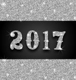 Shimmering Background with Silver Dust for Happy New Year 2017 Stock Photography
