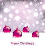 Shimmering Card with Balls For Merry Christmas Royalty Free Stock Image