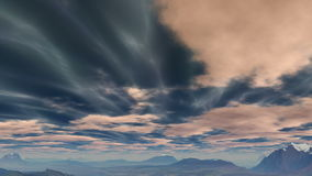 Shimmering clouds over the hills stock footage