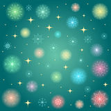 Shimmering Colorful Snowflakes. Golden Shinning Stars and Colorful Snowflakes on Green Background. Perfect for Festive Desig Royalty Free Stock Photos