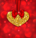 Shimmering Golden Heart with Red Ribbon Royalty Free Stock Photo