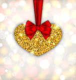 Shimmering Golden Heart with Red Silk Ribbon Stock Photography