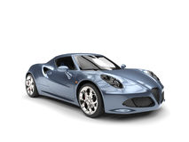 Shimmering gray blue sports car - studio shot. Isolated on white background Royalty Free Stock Photography