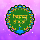 Shimmering happy diwali frame. With peacock