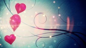 Shimmering hearts with copy space stock video