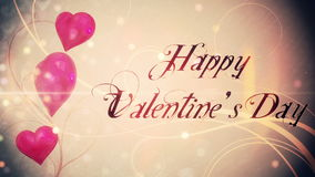Shimmering hearts with valentines message. Digital animation of Shimmering hearts with valentines message stock footage