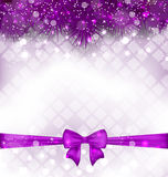 Shimmering Luxury Background with Bow Ribbon. Illustration Shimmering Luxury Background with Bow Ribbon ahd Fir Twigs - Vector Stock Image