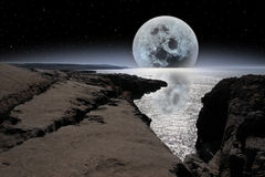 Shimmering moon in rocky burren landscape Royalty Free Stock Photography