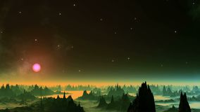 Shimmering Nebula in the Sky Alien Planet. In the dark starry sky there are flashes of white light. Over the hazy horizon the sun in a pink halo. Dark rocks with vector illustration