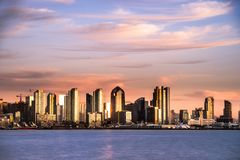 Shimmering San Diego waterfront skyline Royalty Free Stock Images