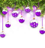 Shimmering Snowing Background with Fir Branches. Illustration Shimmering Snowing Background with Fir Branches and Purple Christmas Balls - Vector Stock Photos