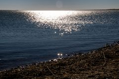 Shimmering waters, Lake McGregor Provincial Recreation Area, Alberta, Canada. Shimmering waters on the horizon of the lake make this a special view stock photos
