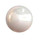 Shimmering white pearl. Shimmering round white pearl with reflections Stock Photos
