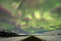 Shimmery Aurora Borealis. Aurora Borealis shimmering in the sky in Alaska royalty free stock image