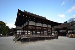 Shimogamo寺庙看法在京都 免版税库存照片