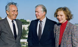 Shimon Peres Greets Jimmy Carter and Rosalynn Carter in Jerusalem. Polish-born Israeli statesman and politician Shimon Peres was a protege of Israeli founding royalty free stock photography