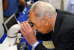 Shimon Peres - 9th President of Israel. ASHDOD, ISR - SEP 19:Shimon Peres visiting in ELTA-Israel Aerospace Industries on Sep 19 2007.Mr. Shimon Peres took a royalty free stock images