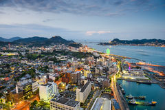 Shimonoseki, Japan Skyline. Over the Kanmon Straits Royalty Free Stock Photo
