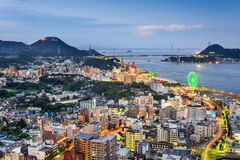 Shimonoseki Japan Skyline. Shimonoseki, Japan skyline over the Kanmon Straits Royalty Free Stock Photo