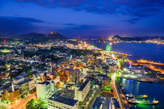 Shimonoseki, Japan Skyline. Over the Kanmon Straits Royalty Free Stock Images