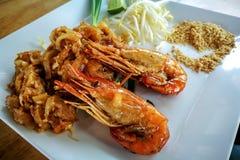 Shimp ou camarão com estilo tailandês do alimento do macarronete do padthai fotos de stock