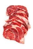 Shin da carne da carne isolado em um fundo branco do estúdio, Fotografia de Stock Royalty Free