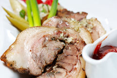 Shin of pork with ketchup and pickles Royalty Free Stock Photography
