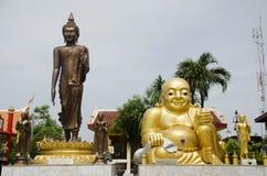 Wat Sakae Krang at Uthai Thani, Thailand. Shin Thiwali statue and buddha statue and Phra sangkatjay happy and smile Buddha for people praying at Wat Sakae Krang Stock Photos