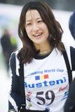 Shin Woon Seon world champion at ice climbing. royalty free stock photography