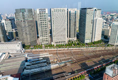 Shinagawa aerial view with station and buildings, Tokyo Stock Images