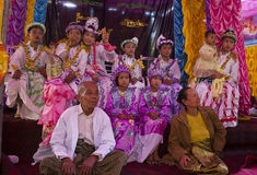 Shinbyu: Becoming a novice in Myanmar. Shinbyu is the Burmese term for a novitiation ceremony (pabbajja) in the tradition of Theravada Buddhism.The shinbyu is a Royalty Free Stock Photo