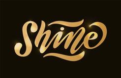 shine Иллюстрация вектора слова влияния золота Вдохновляющий дизайн для печати на тройнике, карточке бесплатная иллюстрация