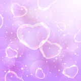 Shine background with hearts Stock Image